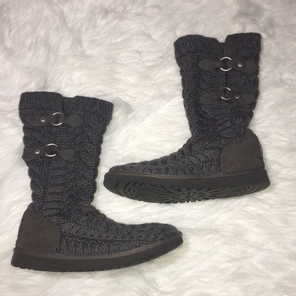 4d5598c000d UGG Cardy Knit Charcoal Gray Boots Buckles Wms 7